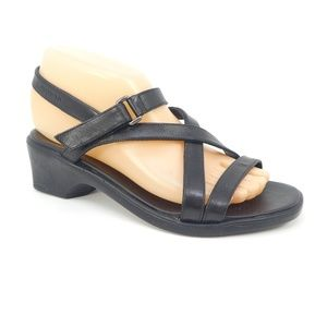 Mephisto Black Leather Open Toe Strappy Sandals